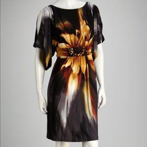 Sandra Darren Gray/yellow sunflower dress SZ 8